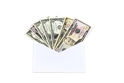 Cash inside an Envelope