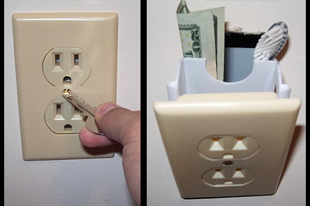 Fake wall outlet to hide money